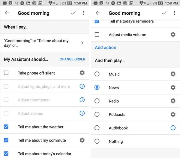 ready-made routines on Google Home