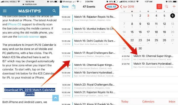 How to Get IPL 2019 Match Calendar on Android, iPhone | Mashtips