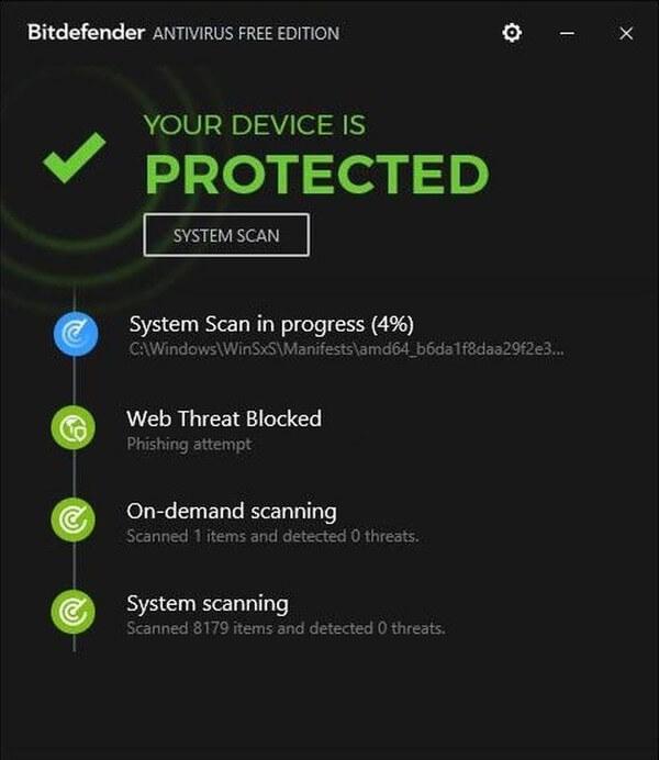 BitDefender Antivirus Free Edition Anti-Malware tool