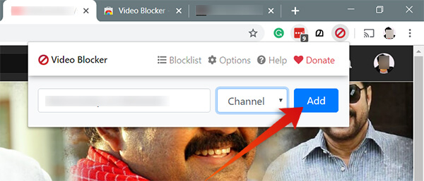 Block Youtube Channel from Google Chrome using Video Blocker