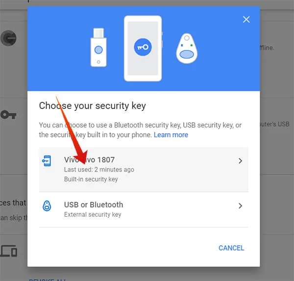 Choose Android smartphone as the Security Key
