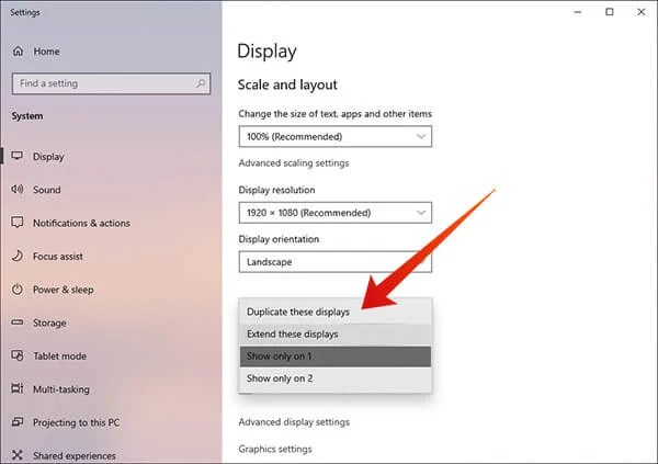 Duplicate displays in windows