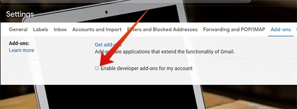 Enable Developer Add-ons for Gmail Account