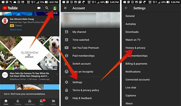 Open Settings on Youtube and enter Privacy History
