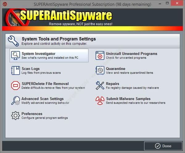 SUPERAntiSpyware Anti-Malware tool
