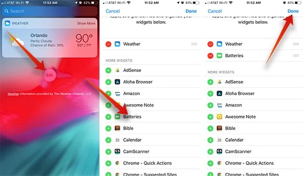 Add Batteries Widget to Notification Center on iPhone