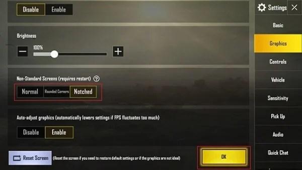 PUBG Mobile Notched option