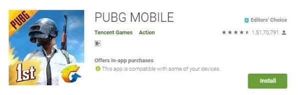 PUBG download from Play Store
