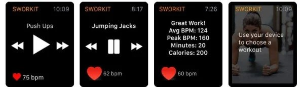 Sworkit fitness app for Apple Watch