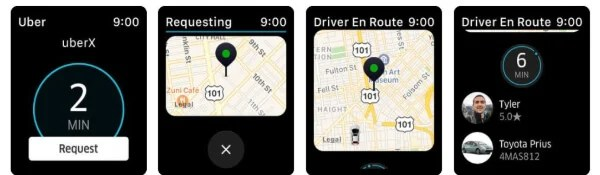 Uber travel app for Apple Watch