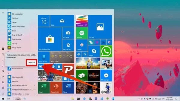 Uninstall Apps on Windows 10 from Start Menu
