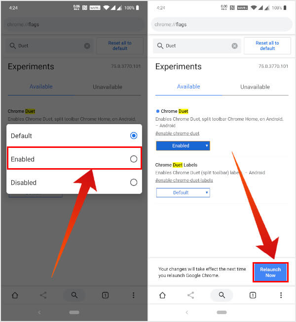 Enable Chrome Duet Split Toolbar UI