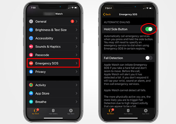 Enable Hold Side Button for SOS on Apple Watch from iPhone