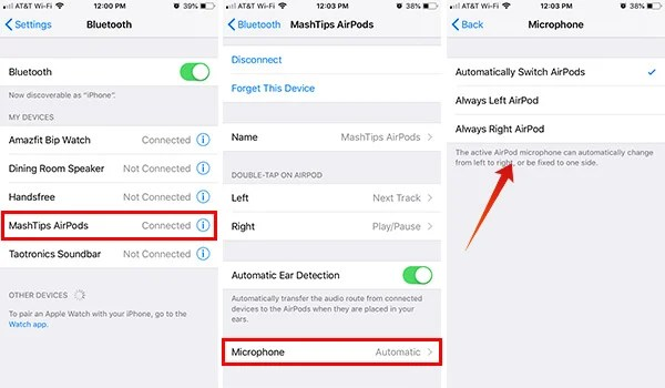 Settings to Switch AirPods Microphone