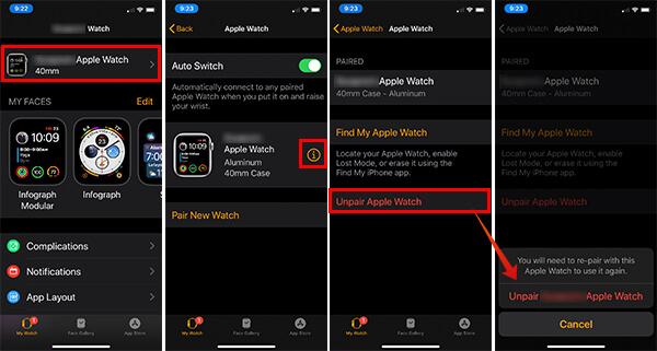 Unpair Apple Watch from iPhone Settings