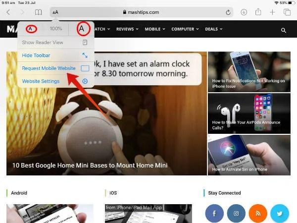 iPad Safari new tool bar iPadOS