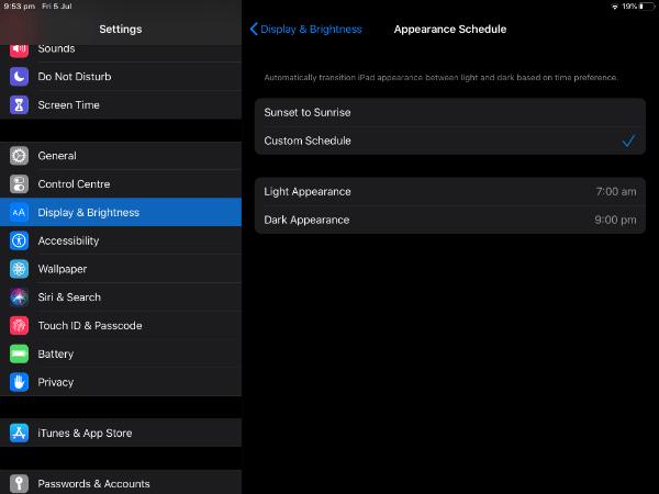 ipad schedule dark mode