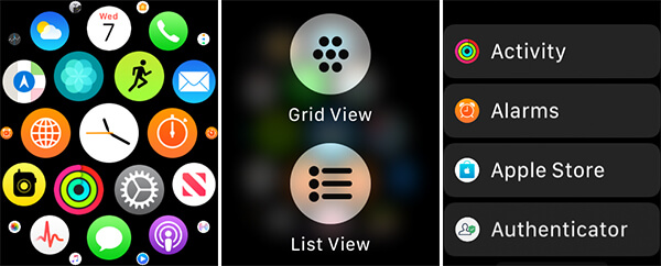 Switch Grid View and List View Apple Watch