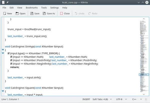 KWrite Linux code editor