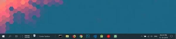 Center Taskbar Icons Windows 10