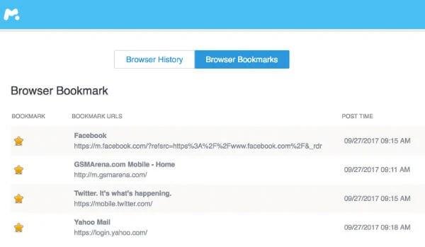 mSpy Browser Bookmark