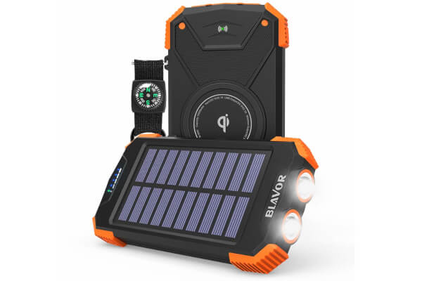 Solar Power Bank, Qi Portable Charger 10,000mAh External Battery Pack Type C Input