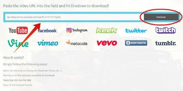 Instagram save videos on windows using Dredown
