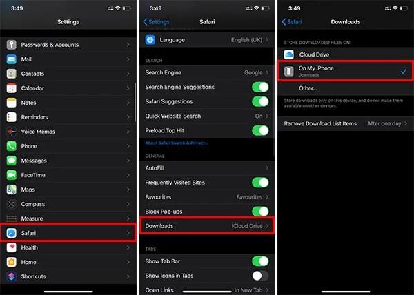 Change Safari Download Location on iPhone
