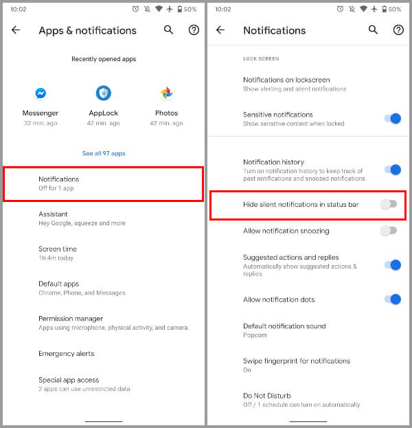 Android 11 Hide silent notifications toggle
