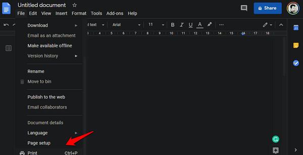 print command in google docs