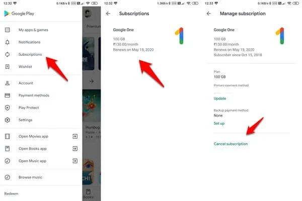 cancel play store subscription