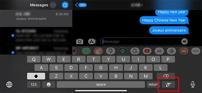 Handwriting keyboard on iMessage on iPhone