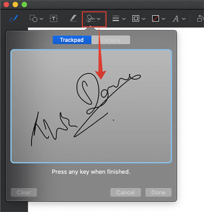 Add Signature to the Drawing on Mail app Mac