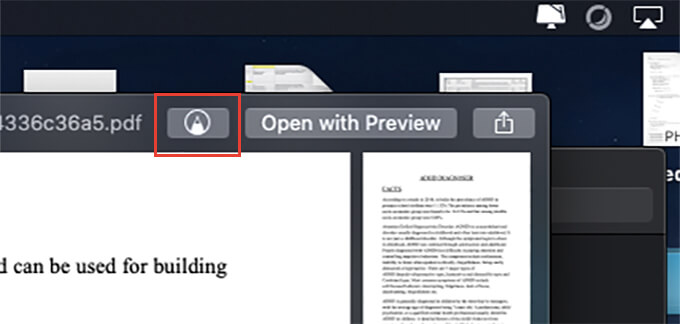 Click on Markup tool icon from Preview app on Mac