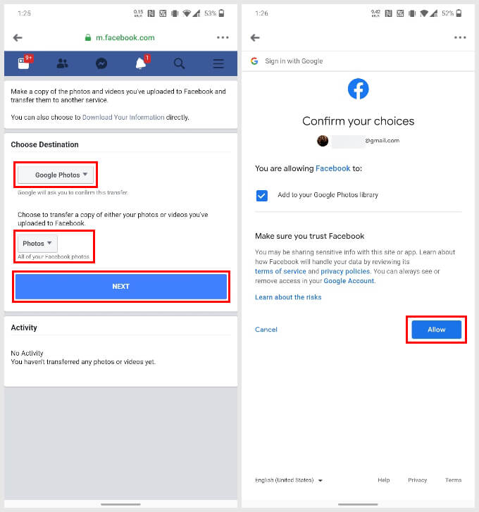 Move Facebook Photos to Google Photos