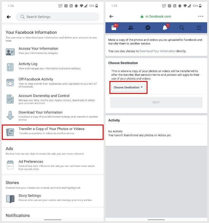 Transfer a Copy of Your Photos or Videos from Facebook