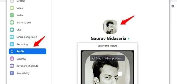 changing profile pic in zoom desktop app