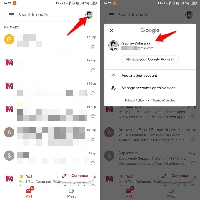 check/change gmail id in mobile