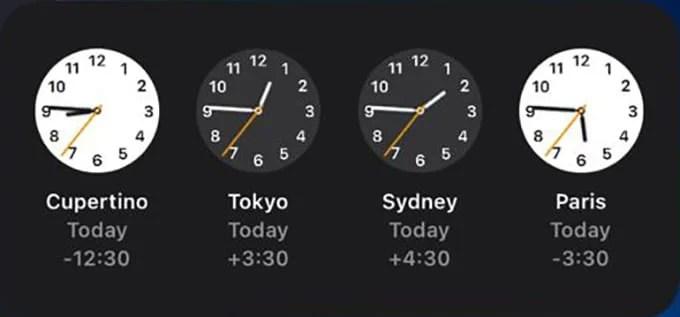 World Clock iPhone Widget