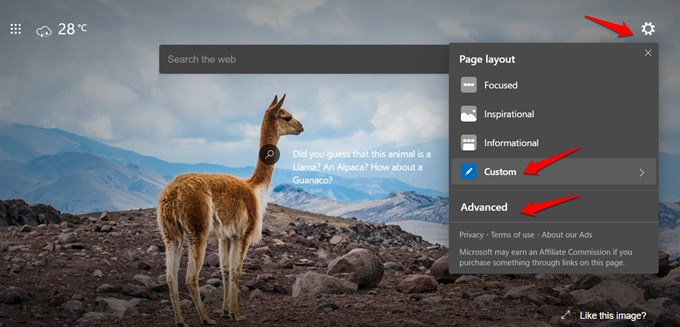 customize homepage in edge