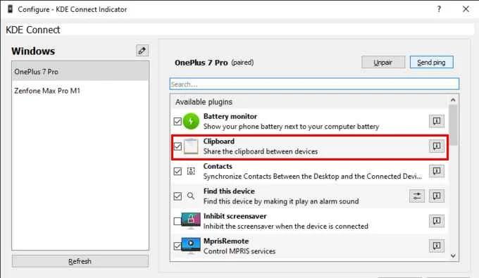 KDE Connect PC Settings