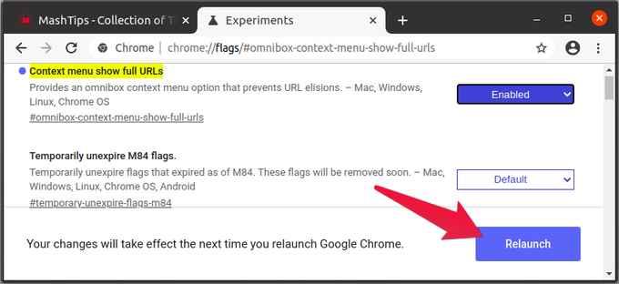 Restart Chrome after enabling flag