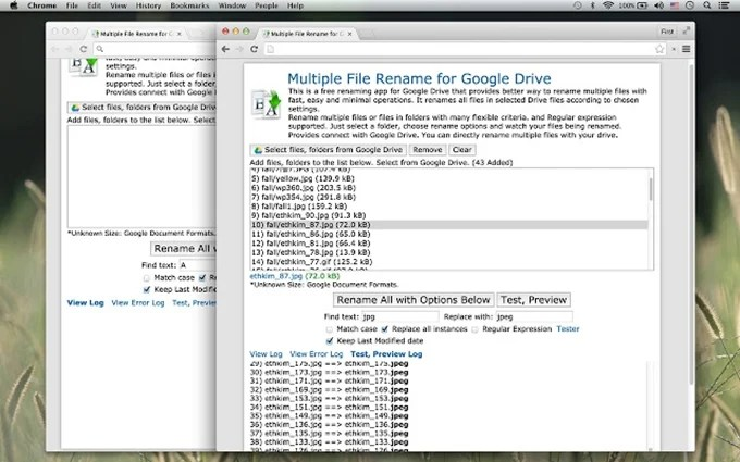 rename multiple files in drive using regex