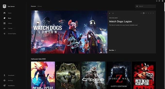 Epic Games Interface