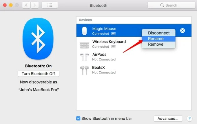 change bluetooth device name on macbook