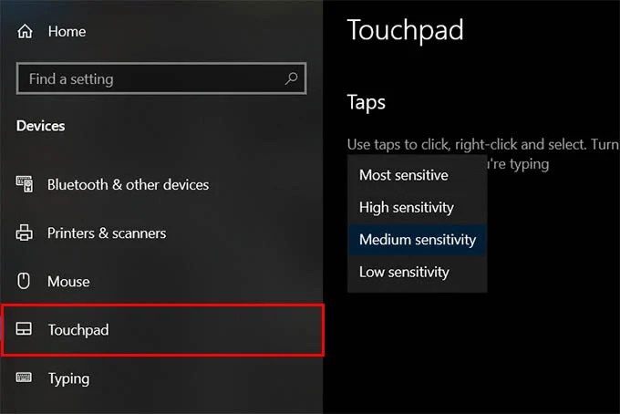 Change Touchpad Sensitivity on Windows 10