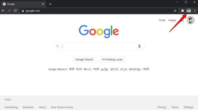 google chrome current profile selection