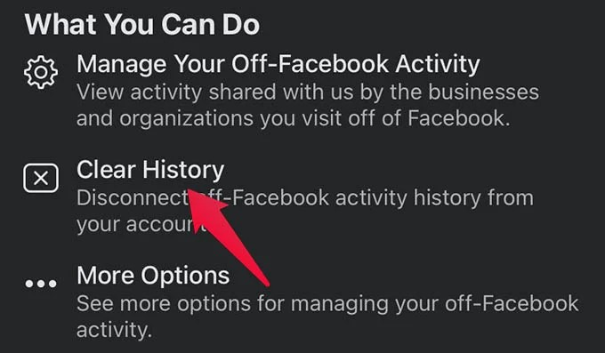 Clear History in Facebook Off Facebook Activity