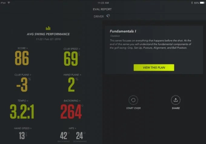 zepp golf app layout and stats