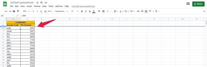Freeze Single Row in Google Sheets